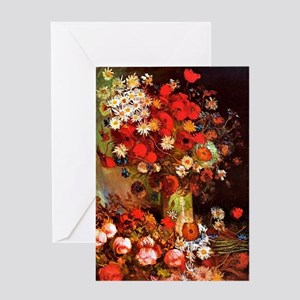 Van Gogh - Vase with Poppies, Cornfl Greeting Card
