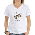 Fueled by Muffins Women's V-Neck T-Shirt