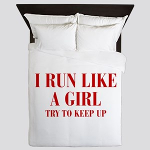 I-run-like-a-girl bod Queen Duvet