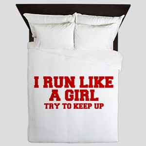 I-run-like-a-girl-FRESH Queen Duvet