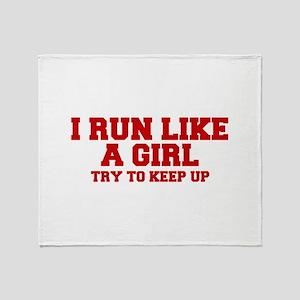 I-run-like-a-girl-FRESH Throw Blanket