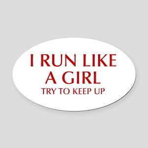 I-run-like-a-girl-OPT Oval Car Magnet