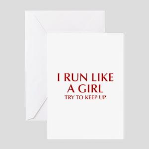 I-run-like-a-girl-OPT Greeting Cards