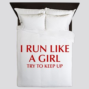 I-run-like-a-girl-OPT Queen Duvet