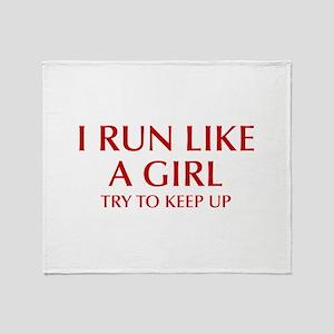 I-run-like-a-girl-OPT Throw Blanket