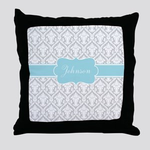 Gray Blue Damask Personalized Throw Pillow