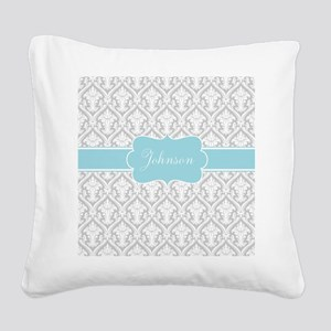Gray Blue Damask Personalized Square Canvas Pillow