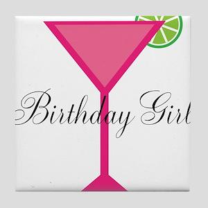 Birthday Girl Pink Cocktail Tile Coaster