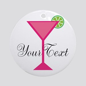 Personalizable Pink Cocktail Ornament (Round)