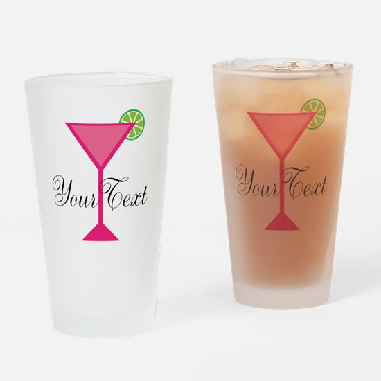 Personalizable Pink Cocktail Drinking Glass