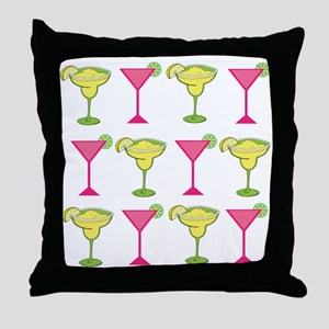 Pink and Green Cocktails Throw Pillow