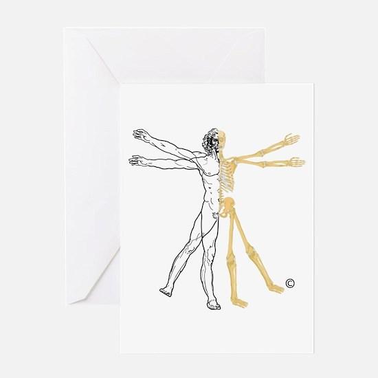 Vitruvian Skeleton Greeting Cards