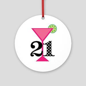 21st Birthday Pink Cocktail Ornament Round