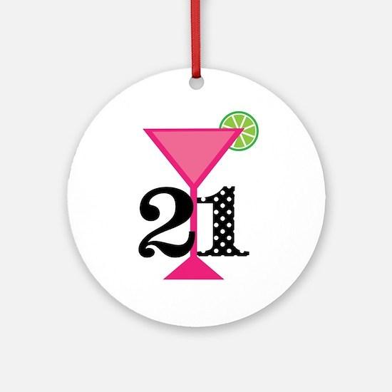 21st Birthday Pink Cocktail Ornament (Round)