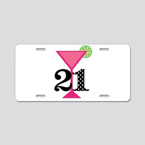 21st Birthday Pink Cocktail Aluminum License Plate