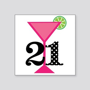 21st Birthday Pink Cocktail Sticker