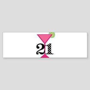 21st Birthday Pink Cocktail Bumper Sticker