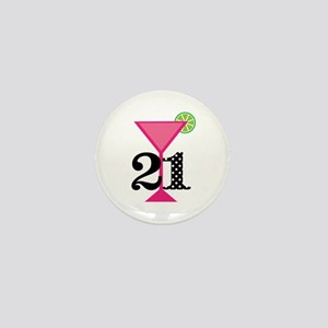 21st Birthday Pink Cocktail Mini Button