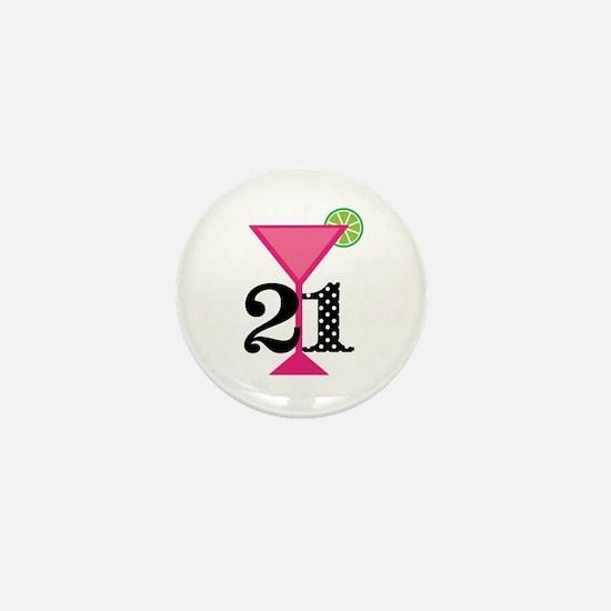 21st Birthday Pink Cocktail Mini Button