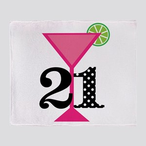 21st Birthday Pink Cocktail Throw Blanket