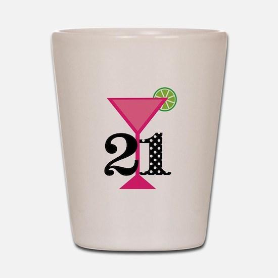 21st Birthday Pink Cocktail Shot Glass