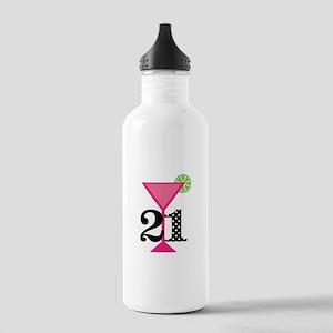 21st Birthday Pink Cocktail Water Bottle