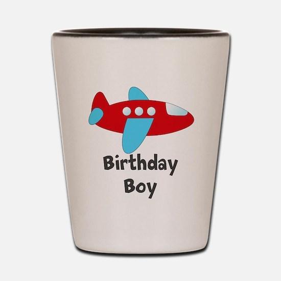 Birthday Boy Red and Blue Plane Shot Glass