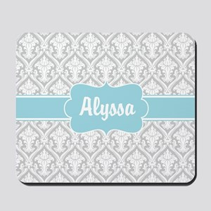 Gray Blue Damask Personalized Mousepad