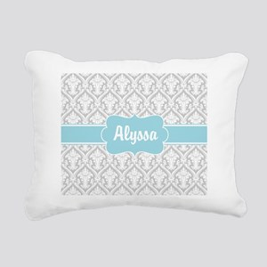 Gray Blue Damask Personalized Rectangular Canvas P