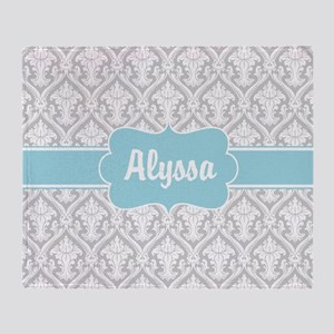 Gray Blue Damask Personalized Throw Blanket