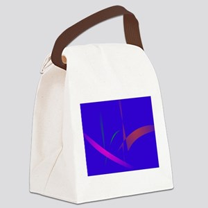 Simple Blue Abstract with Slashing Colors Canvas L