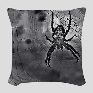 Abstract Black Spider Art Web Woven Throw Pillow