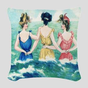Vintage Victorian Seashore Woven Throw Pillow