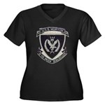USS MORTON Women's Plus Size V-Neck Dark T-Shirt