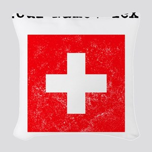 Custom Distressed Switzerland Flag Woven Throw Pil