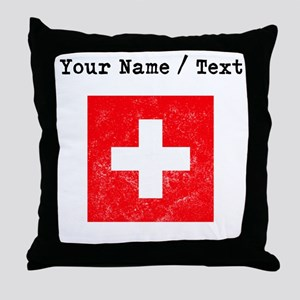 Custom Distressed Switzerland Flag Throw Pillow