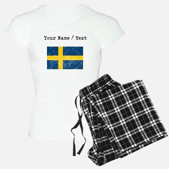 Custom Distressed Sweden Flag Pajamas