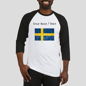 Custom Distressed Sweden Flag Baseball Jersey