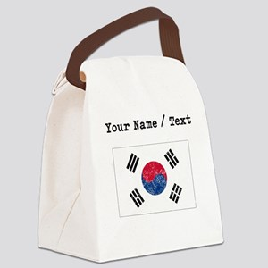 Custom Distressed South Korea Flag Canvas Lunch Ba