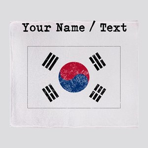 Custom Distressed South Korea Flag Throw Blanket
