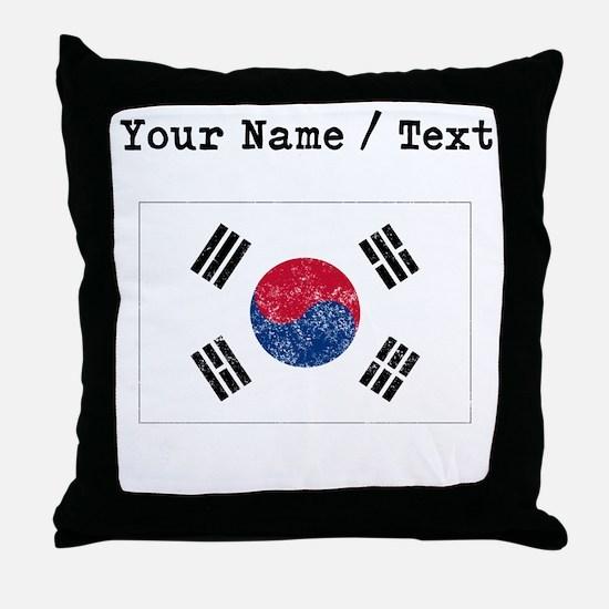 Custom Distressed South Korea Flag Throw Pillow