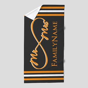 Grey, Orange Infinity Beach Towel