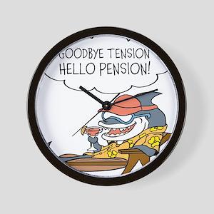 Goodbye Tension Hello Pension Retirement Wall Cloc