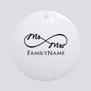 Custom Infinity Mr. and Mrs. Ornament (Round)