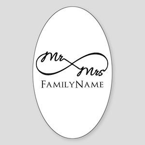 Custom Infinity Mr. and Mrs. Sticker (Oval)