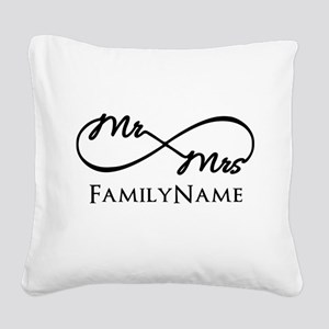 Custom Infinity Mr. and Mrs. Square Canvas Pillow
