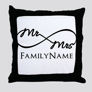 Custom Infinity Mr. and Mrs. Throw Pillow