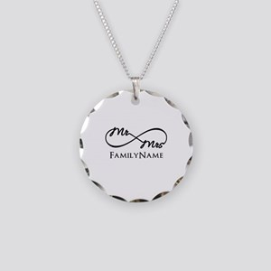 Custom Infinity Mr. and Mrs. Necklace Circle Charm