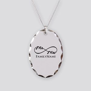 Custom Infinity Mr. and Mrs. Necklace Oval Charm