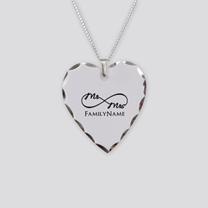 Custom Infinity Mr. and Mrs. Necklace Heart Charm